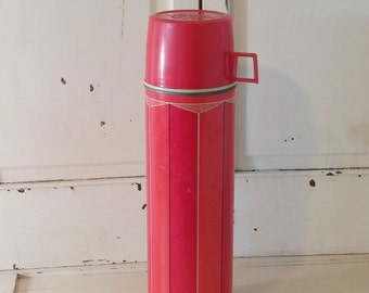 Vintage Red Thermos | Striped