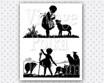 Clip Art Vintage Silhouette Mary Had a Little Lamb and Bo Peep Clipart Antique Lambs LIttle Girl Printable Digital Instant Download