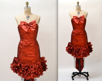 80s Vintage Metallic Red Party Dress By Mike Benet// Vintage 80s Red Strapless Prom Dress Dress Size Medium Small