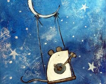 Mouse Original Kids Painting Nursery Wall Art Print Children and Babies Starry Night Moon Artwork Cute Whimsical Woodland Animal Banjo Music