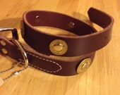 Leather dog collar with bullet casings