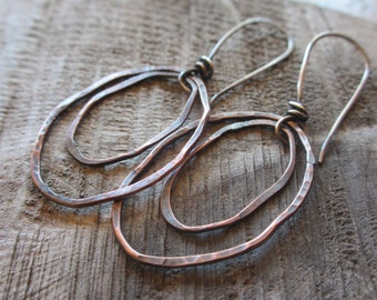 Tumbled - rustic copper earrings