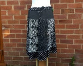Monochrome patchwork tee shirt skirt upcycled by Niknok