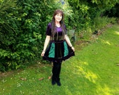 Hooded velvet patchwork dress upcycled by Niknok