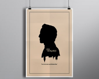 Modern Silhouette Cameo Jim Moriarty Print // Minimalist London Skyline and Literary Character Profile Illustration