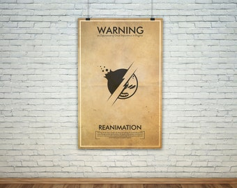 Reanimation // Vintage Science Experiment Warning Poster // Finge Inspired Wall Art for the Budding Mad Scientist