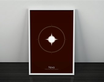 Nova // Astronomy and Space Inspired Cosmic Phenomenon Series // Minimalist Stellar Icon Poster