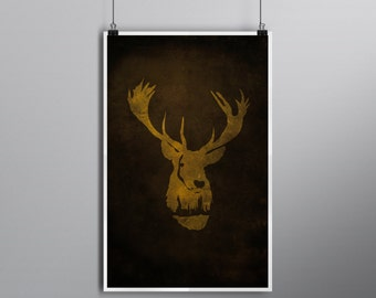 Defend Yourself // Deathly Hallows Alternate Movie Poster //  Vintage Golden Stag and Wizard Castle Silhouette with Dark Textured Background
