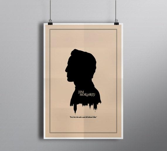 Modern Silhouette Cameo Jim Moriarty Print // Minimalist London Skyline and Literary Character Profile Illustration