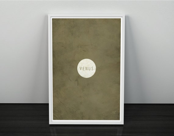 Venus // Vintage Inspired, Minimalist Planetary Science Print // White and Tan Textured or Clean Print with Planet Graphic