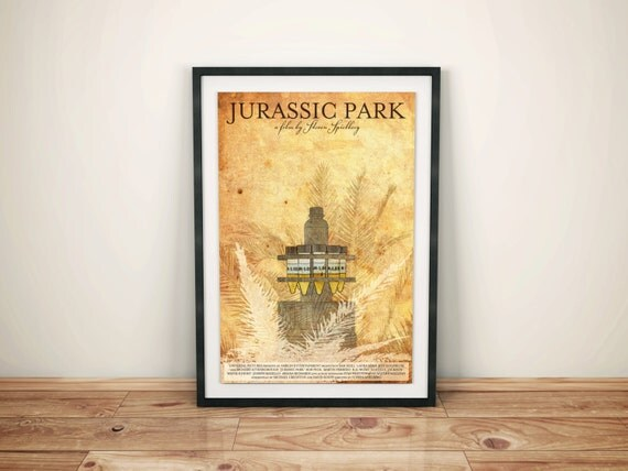Cold Storage // Jurassic Park Alternate Movie Poster // Science Fiction Dinosaurs, Palm Fronds, and Vile Storage Vessel Illustration