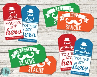 Happy Father's Day, Dad, Grandpa, Gift Tags, Father's Day Gift, Hero, Stache, Moustache, Dad Tags, Printables, Digital Download, For Him,