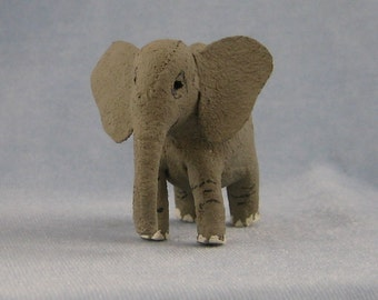 Elephant Soft Sculpture Miniature Animal by Marie W. Evans
