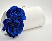 Something blue wedding clutch- Bridal clutch/Bridesmaid clutch-Prom clutch-Princess blue/Off white