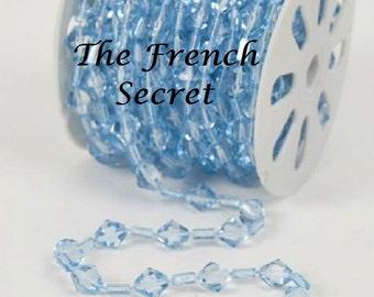 Christmas Aqua Blue CRYSTAL Garland Decoration Xmas Feather Tree Decor Shabby Chic Vintage Beaded Crystal Beads Centerpiece Mantel