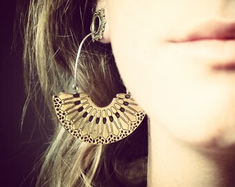 Cellular Hoop Earrings - Hoop Earrings - Gold Earrings - Geometric Jewelry- Designer Earrings