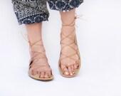 Leather Lace Up Sandals - Sand - Zero drop & CUSTOM FIT