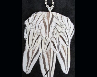 Dramatic Black and White Silver Pheasant Feather Necklace