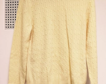100% cashmere turtleneck sweater large Sophia Milano/long sleeve cable '91 yellow