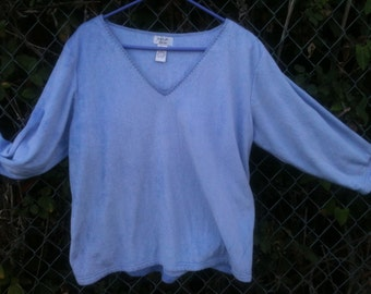 Fleece top longsleeve super soft /size 1X by nap no flaws/blue PeriWinkle