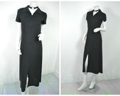 90s goth black collared zip up maxi dress