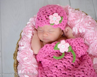 Baby Set - Pink Cocoon and Hat with flowers (fits 0-4 months)