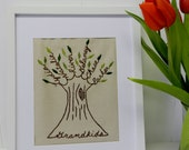 Personalized Family Tree Embroidered Wall Art. 11X14. Grandma. Grandkids. Mom Birthday Gift. Grandparents Day. Christmas Gift for parents.