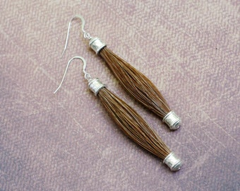 Horse Hair Earrings with Silver Plated End Caps