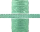 "Mint Silver Dots - 100 Yard Roll - Fold Over Elastic - 5/8"" Wide Bulk Wholesale FOE"