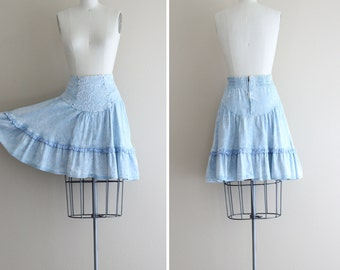 SALE - 80s Skirt . Acid Wash Denim Skirt - Rhinestone Cowgirl -
