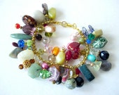 Cha Cha Bracelet, Multi Color Charm Bracelet, Bead Dangles Bracelet, Statement Bracelet, Boho Chic Bracelet, Colorful Bracelet, Gemstones