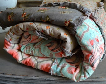 Modern Rag Quilt,Tula Pink Bumblebee Meets Florals with Grey Background