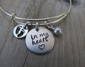 "Baby Loss/Miscarriage Bracelet- Hand-stamped bracelet, ""in my heart"" stamped heart, baby footprints charm and an accent bead of your choice"