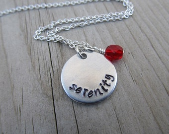 "Serenity Inspiration Necklace- Hand-Stamped ""serenity"" with an accent bead in your choice of colors - Hand-Stamped Necklace"