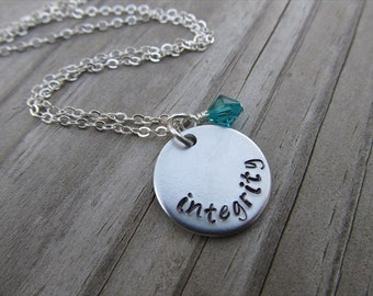 "Integrity Inspiration Necklace- ""integrity"" with an accent bead of your choice- Hand-Stamped Necklace by Jenn's Handmade Jewelry"
