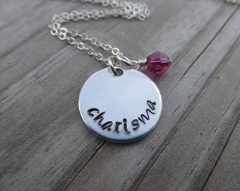 "Charisma Inspiration Necklace- ""charisma"" with an accent bead of your choice- Hand-Stamped Necklace by Jenn's Handmade Jewelry"