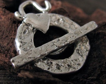 Large Round STERLING SILVER Clasp with Heart - XO Artisan Heart Toggle Handcrafted by Lost Wax Carving- AC194