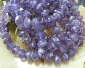 Lavender Rondelles, Czech Glass Faceted Beads, Opaque & Transparent Mix, 6 x 8mm, Radiant Orchid Palette, Full Strand 25