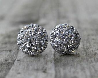 Titanium Earrings, Big Silver Druzy Rhinestones, Hypoallergenic
