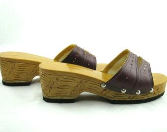 Vintage Boho Clog Sandals Carved Heels Burgundy Size 8