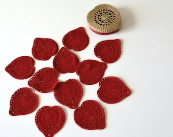 Vintage Heart Shape Crochet Coasters,Red,12 Coasters,Basket