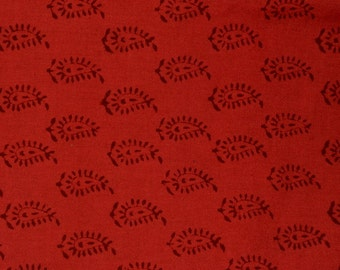 Bagh print  Indian summer cotton fabric  in red color- One yard