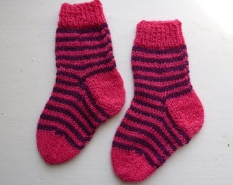 Funky Stripe: Hand-knit Toddler socks, size 1-2 years