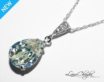 Moonlight Crystal Necklace Swarovski Moonlight Sterling Silver CZ Necklace Wedding Rhinestone Teardrop Bridesmaid Necklace Bridal Jewelry