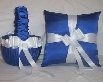 Blue Horizon Satin With White Ribbon Trim Flower Girl Basket And Ring Bearer Pillow Set 2