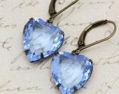 Vintage Earrings - Hearts Light Sapphire Rhinestone September Birthstone Blue - Faceted Hearts -  Bridal Bridesmaids