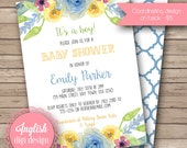 Watercolor Floral Baby Shower Invitation, Printable Baby Shower Invitation Design, Flowers, It's a Boy - Florals in Blue, Yellow, Green