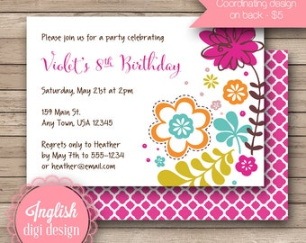 Printable Floral Birthday Party Invitation, Floral Birthday Party Invite - Flower Party Design in Fuchsia, Lime, Blue and Orange