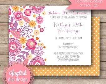 Printable Floral Birthday Party Invitation, Floral Birthday Party Invite, Flower Birthday Invite - Friendly Floral in Pink, Orange, Purple