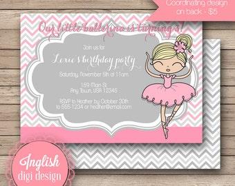 Printable Ballerina Birthday Party Invitation, Ballerina Birthday Party Invite, Ballerina Party Invite - Whimsy Ballerina in Gray and Pink